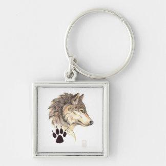 Wolf Head Profile Silver-Colored Square Keychain