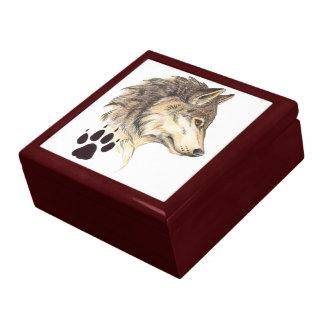 Wolf Head Profile with Paw Print Jewelry Box
