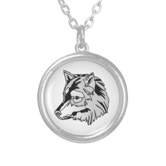 Wolf Head Round Pendant Necklace