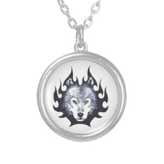 WOLF HEAD SMALL ROUND PENDANT NECKLACE