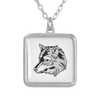 Wolf Head Square Pendant Necklace