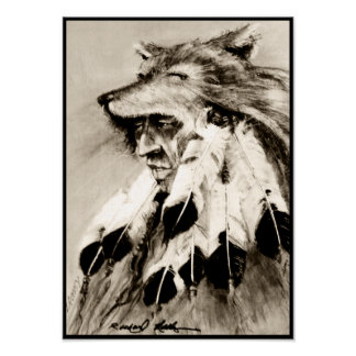 Wolf Headdress Sepia Canvas Print