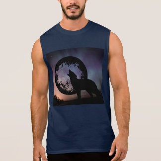 Wolf Howl Sky Night Northern Lights Animals Wild Sleeveless Shirt