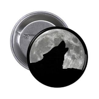 wolf howling 2 inch round button