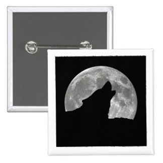 wolf howling 2 inch square button