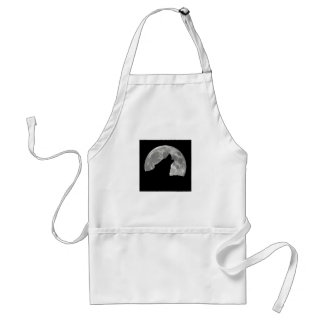 wolf howling adult apron