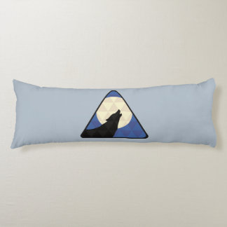 Wolf Howling At Big Moon With Triangle Design Body Pillow