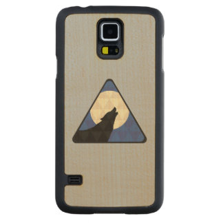 Wolf Howling At Big Moon With Triangle Design Carved Maple Galaxy S5 Slim Case