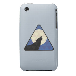 Wolf Howling At Big Moon With Triangle Design iPhone 3 Case-Mate Case