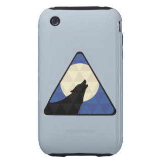 Wolf Howling At Big Moon With Triangle Design Tough iPhone 3 Cover