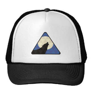 Wolf Howling At Big Moon With Triangle Design Trucker Hat