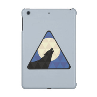 Wolf Howling At Big Moon With Triangle Design iPad Mini Cases