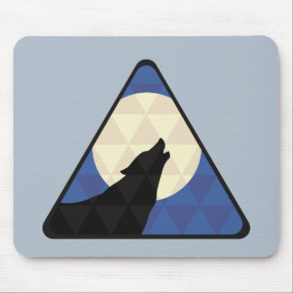 Wolf Howling At Big Moon With Triangle Design Mouse Pad