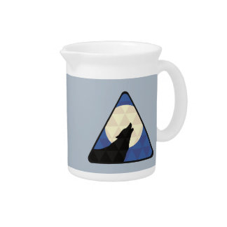 Wolf Howling At Big Moon With Triangle Design Drink Pitcher