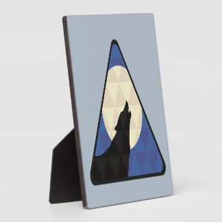 Wolf Howling At Big Moon With Triangle Design Display Plaque