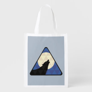 Wolf Howling At Big Moon With Triangle Design Reusable Grocery Bags