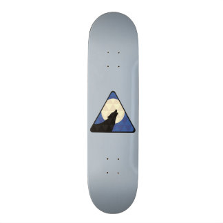 Wolf Howling At Big Moon With Triangle Design Custom Skateboard