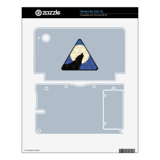 Wolf Howling At Big Moon With Triangle Design Skin For DSi XL