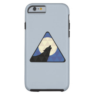 Wolf Howling At Big Moon With Triangle Design Tough iPhone 6 Case