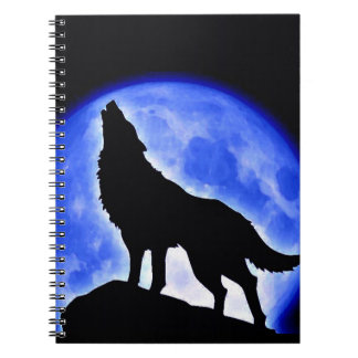 Wolf Howling at Blue Moon Notebook