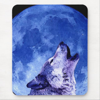 Wolf Howling at Blue Moon Vertical Mousepad