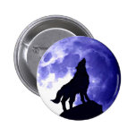 Wolf Howling at Moon 2 Inch Round Button