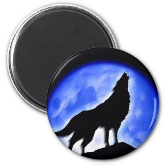 Wolf Howling at Moon 2 Inch Round Magnet