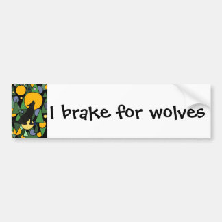 Wolf Howling at Moon Abstract Art Bumper Sticker