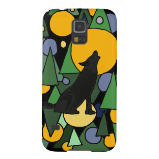 Wolf Howling at Moon Abstract Art Galaxy S5 Cover