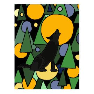 Wolf Howling at Moon Abstract Art Postcard