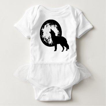 Beach Themed Wolf Howling at Moon Baby Bodysuit