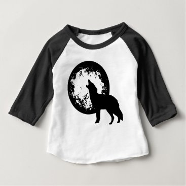 Beach Themed Wolf Howling at Moon Baby T-Shirt