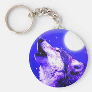 Wolf Howling at Moon Basic Round Button Keychain