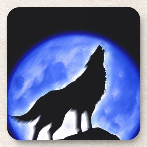Wolf Howling at Moon Beverage Coaster