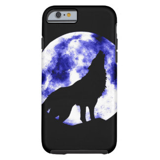 Wolf Howling at Moon Black & Blue Tough iPhone 6 Case