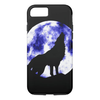 Wolf Howling at Moon Black & Blue iPhone 7 Case