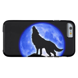 Wolf Howling at Moon Blue Black Tough iPhone 6 Case