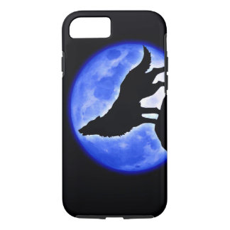 Wolf Howling at Moon Blue Black iPhone 7 Case