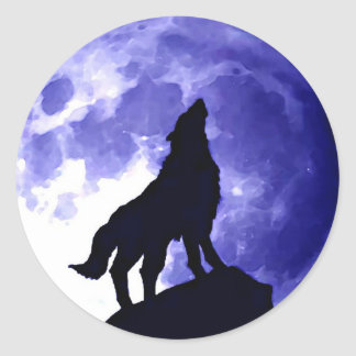 Wolf Howling at Moon Blue Night Fullmoon Classic Round Sticker