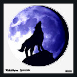 """Wolf Howling at Moon Blue Night Wall Decal<br><div class=""""desc"""">Howling Wolf at Moon Pop Art Image - Wolf Howling at Moon Digital Comic Style Animal Art - College Pop Art - Wild Animals - World of Extreme Animals - Most Ferocious Creatures Computer Images</div>"""