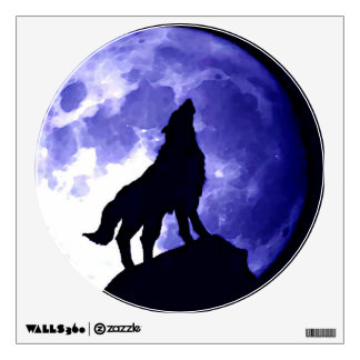 Wolf Howling at Moon Blue Night Wall Decal