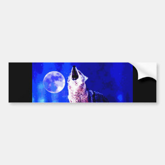 Wolf Howling at Moon Bumper Sticker