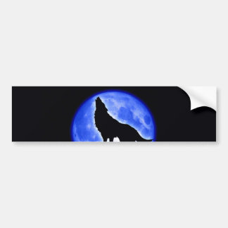 Wolf Howling at Moon Bumper Stickers