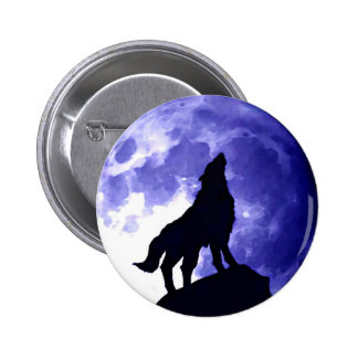 Wolf Howling at Moon Button