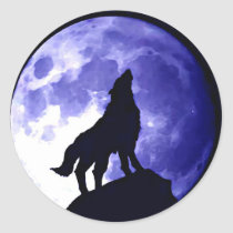 Wolf Howling at Moon Classic Round Sticker