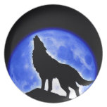 Wolf Howling at Moon Dinner Plate
