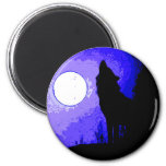 Wolf Howling at Moon Fridge Magnet