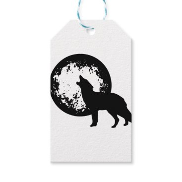 Beach Themed Wolf Howling at Moon Gift Tags