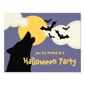 """Wolf Howling At Moon Halloween Party Invitation 4.25"""" X 5.5"""" Invitation Card"""