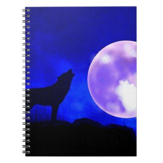 Wolf Howling at Moon in Blue Night Notebook